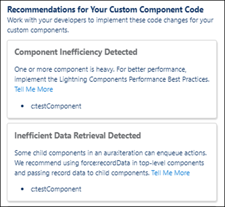 Recommendations for Your Custom Component Code card
