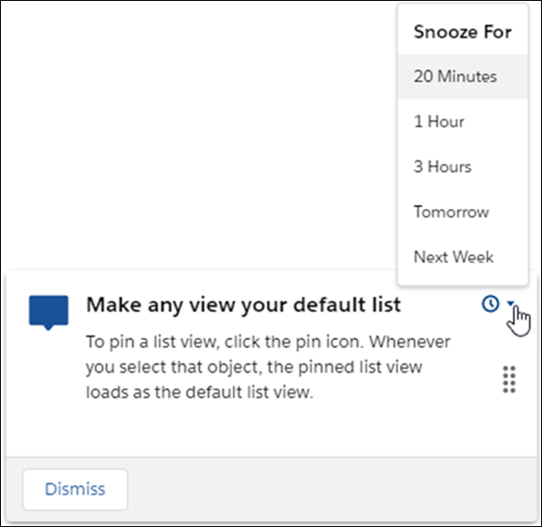 Snooze In-App Guidance to See It Later