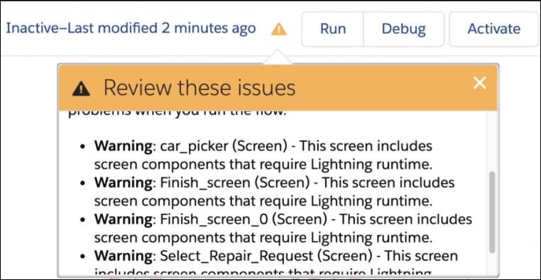 Avoid Repetitive Lightning Runtime Warnings in Screen Flows