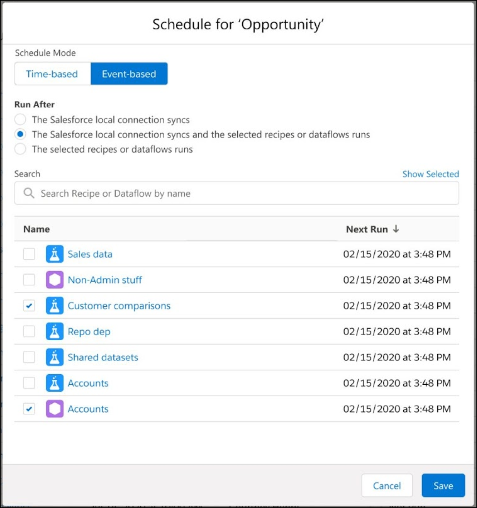 Schedule screen for a dataflow or recipe, with the option to use event-based with waiting for dataflows or recipes.