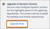 Upgrade Now button for custom objects.