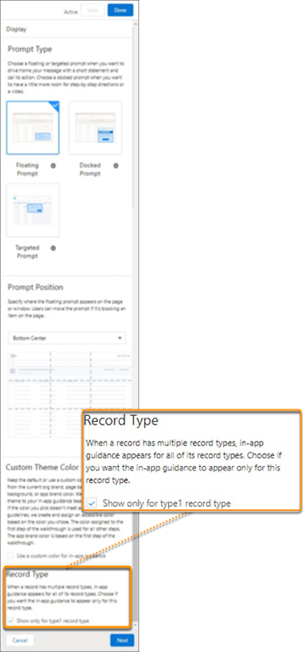 Record Type area shown in the In-App Guidance Builder