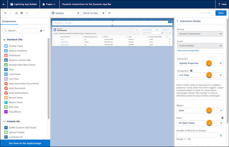 Lightning App Builder with the properties pane open to configure Interaction Details